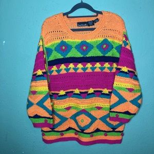Vintage Anne Klein II Bold Colorful Sweater M